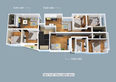 Mặt bằng các căn hộ thuộc tòa chung cư mini Nhật Tảo 7 giá rẻ