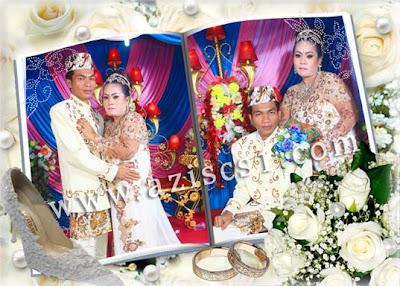 Frame Wedding keren dengan cincin dan mawar putih