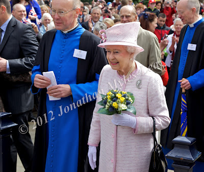 HM The Queen with The Very Reverend Michael Tavinor at Hereford Cathedral. Photo © Jonathan Myles-Lea