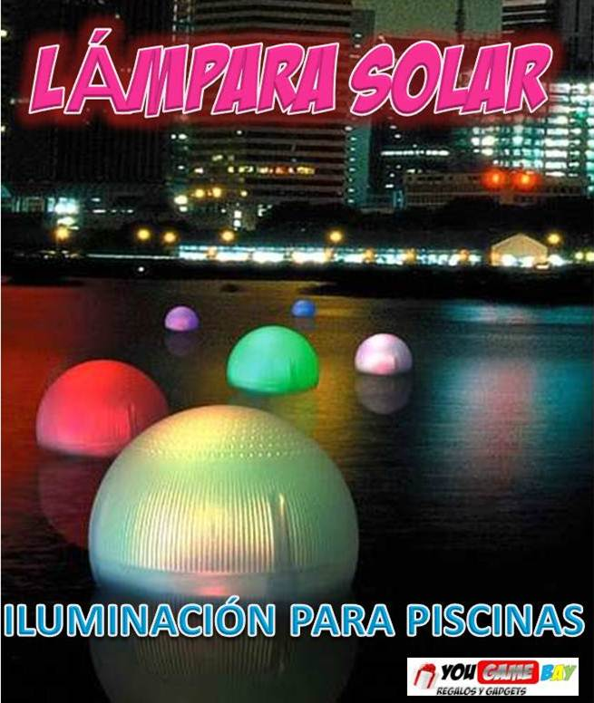 Lampara flotante para piscinas lampara solar con luz led for Luces para piscinas