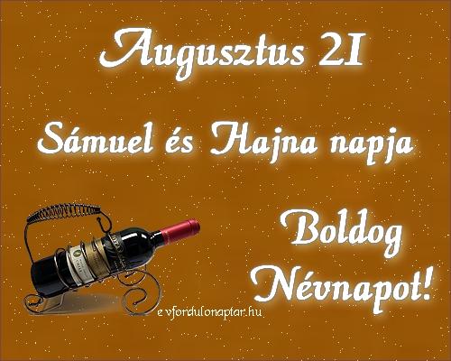 Augusztus 21 - Sámuel, Hajna névnap