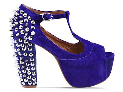 Jeffrey Campbell Foxy Spike in blue suede / silver