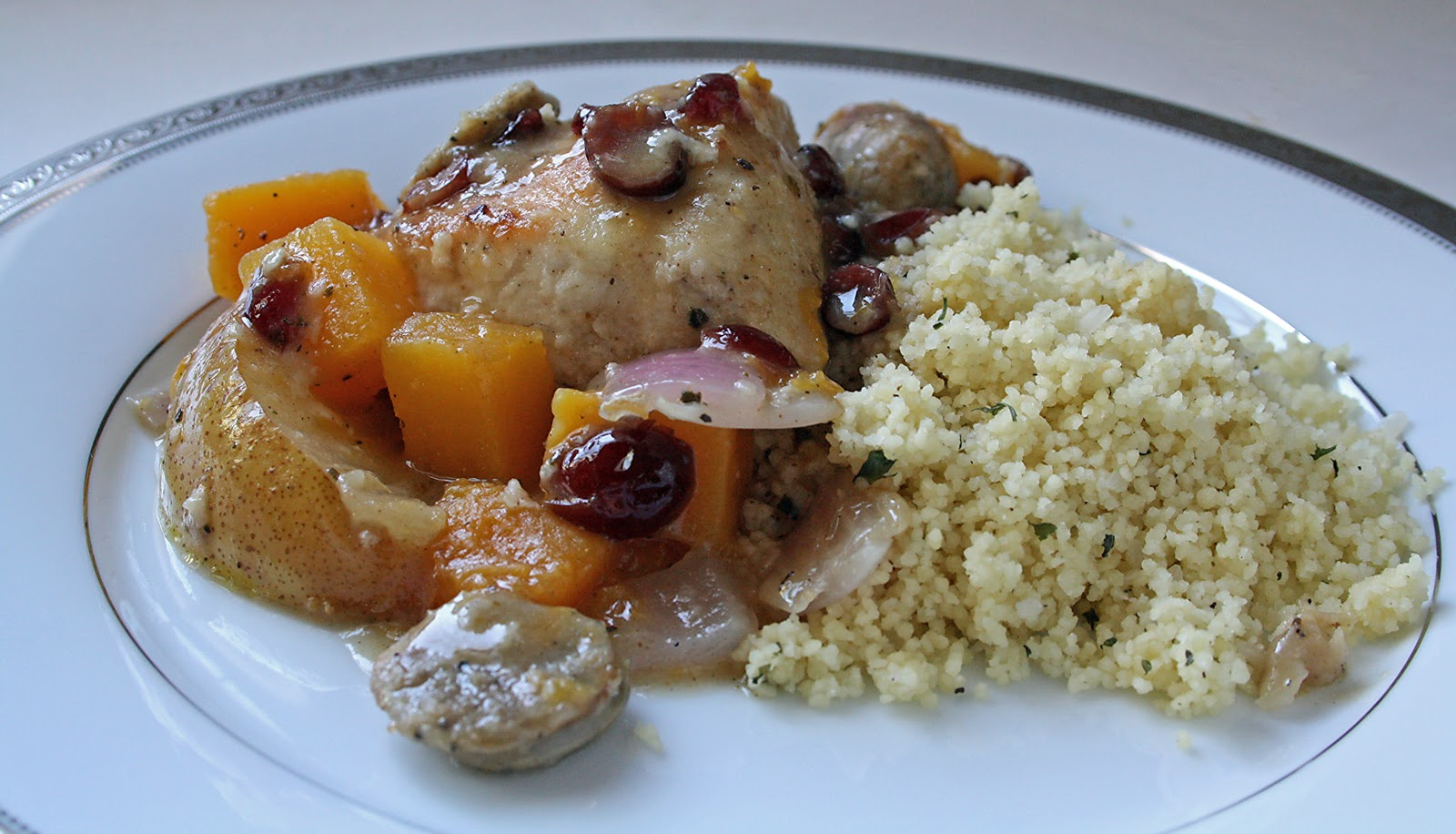 BRAISED CHICKEN WITH SQUASH & CRANBERRIES - Butter with a Side of ...