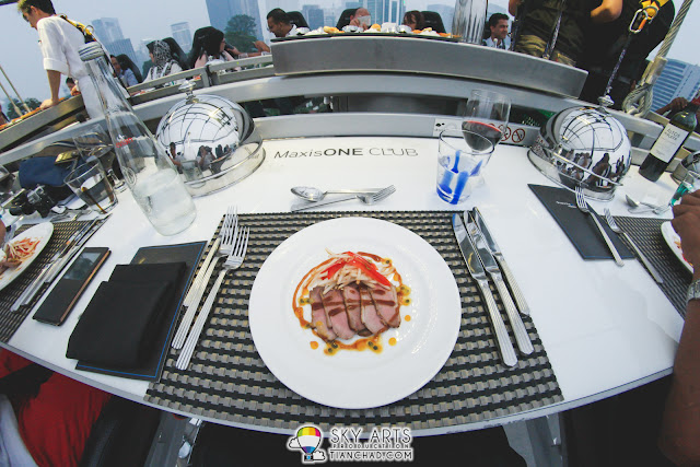 """High In The Sky House-smoked Duck Breast, Bean Sprout Salad with """"Hoisin"""" Vinaigrette and Passionfruit Drops"""
