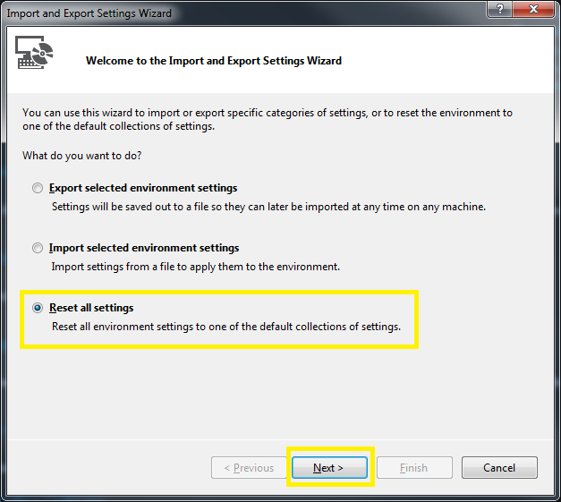 Tools > Import and Export Settings Wizard Step 1