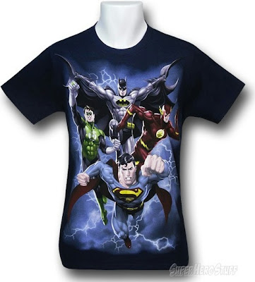 Click here to purschase Justice League Storm Is Coming t-shirt at SuperHeroStuff!