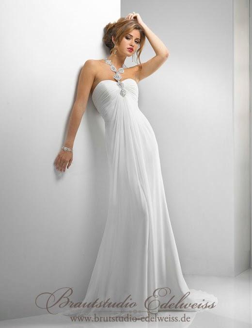 Griechische Göttin Brautkleid aus Chiffon. Griechischer Stil Brautmoden.
