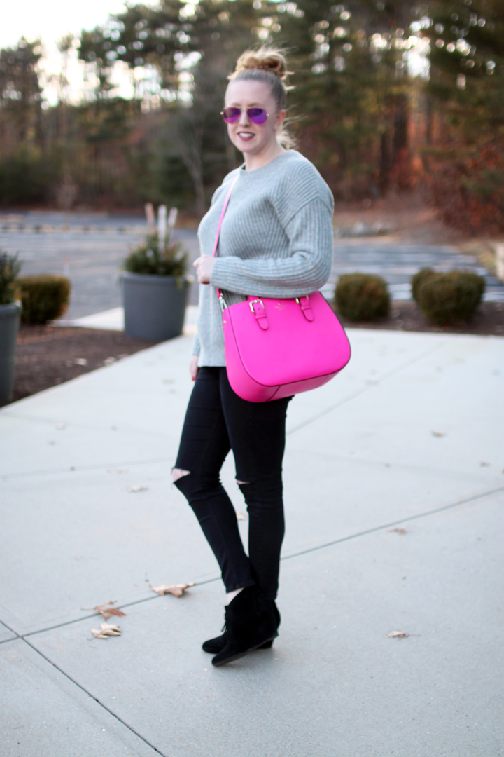 boston style blogger, blogger style, on the blog, gap boyfriend sweater, top shop jamie moto jeans, kate spade satchel in pink, ray-ban aviators in purple, via spiga fedora booties