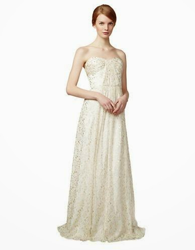 Silk Metallic Gown: Affordable Wedding Dresses - Strapless