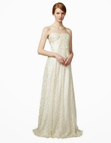 Silk Metallic Gown: Affordable Wedding Dresses - Strapless