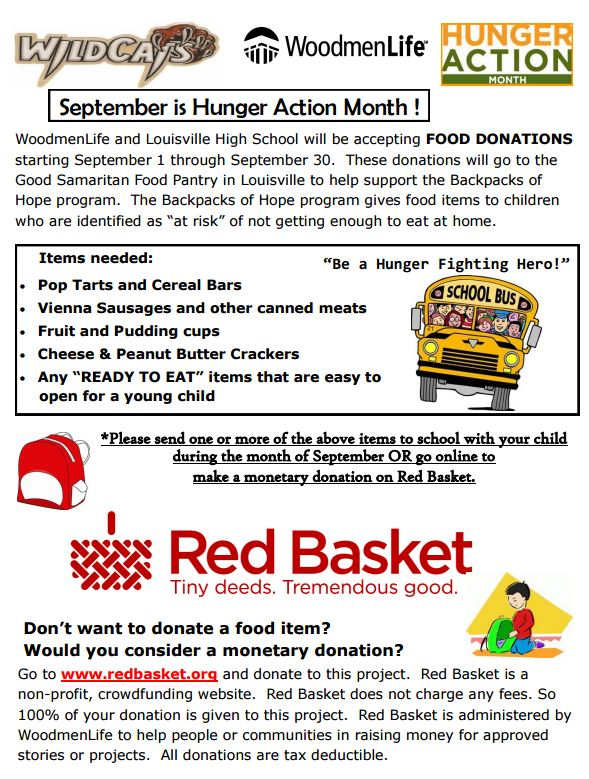 Louisville High School: Louisville High School Food Drive-Sept. 1-30
