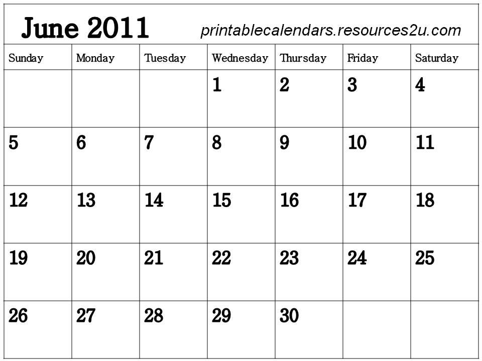 June 2011 Calendar Printable