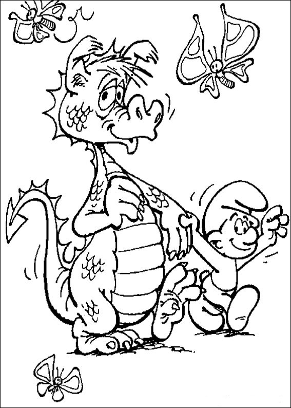 transmissionpress: Smurf and The Dragon Coloring Page