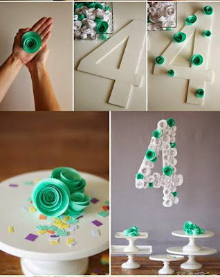 "tutorial : how to make "" spiral flower number party decoration"""