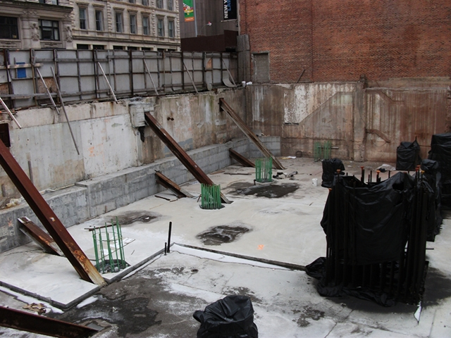 Photo of construction site and built underground floors at 56 Leonard Street Construction Site, New York