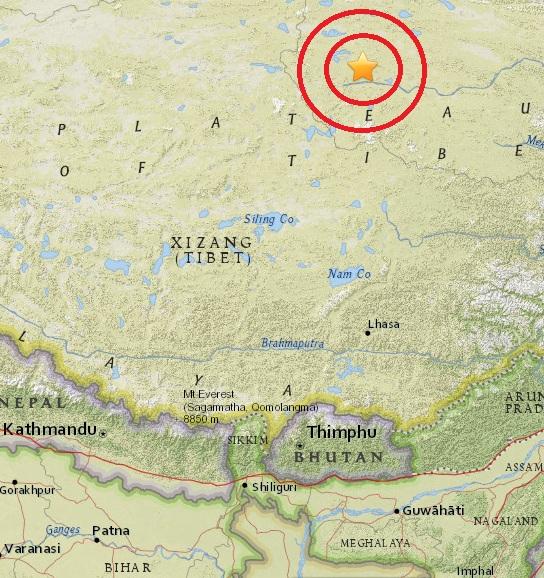 Magnitude 4.8 Earthquake of Tanggulashan, China 2015-05-30