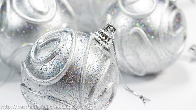 Silver Christmas balls.