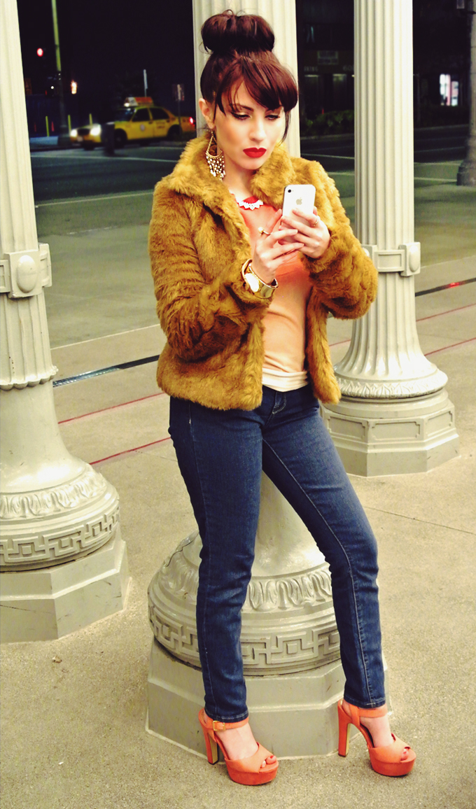 HM Fur Coat, How To Wear Pearls, Old Hollywood Makeup, LA Street Style, Street Style Photography, LACMA, Urban Light, Popular Fashion Bloggers, Top Fashion Bloggers, 2013 Fashion Trends, Winter Fashion, Ombre Sweater, Orange Lipstick, HM Clothing, Forever XXI Jeans