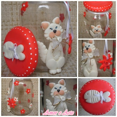 Vidro para ração, gatinho em biscuit (vermelho)