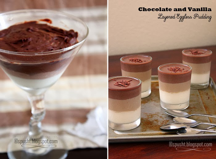 Spusht | Homemade Chocolate Vanilla Layered Pudding Dessert Recipe