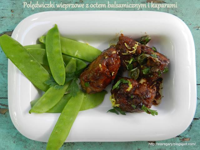 Polędwiczki wieprzowe z octem balsamicznym i kaparami