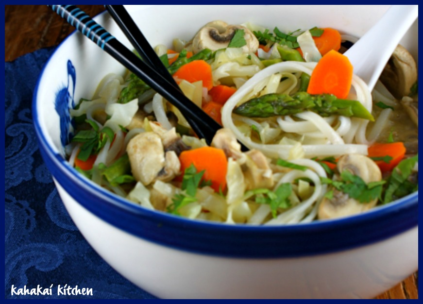 Udon Noodles With Edamame, Peppers & Mushrooms In Ginger-Garlic Broth ...