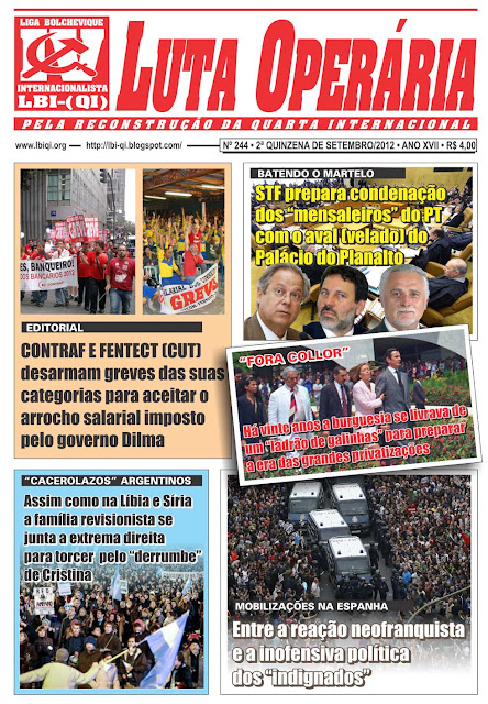 LEIA A EDIÇÃO DO JORNAL LUTA OPERÁRIA, Nº 244, 2ª QUINZENA DE SETEMBRO/2012