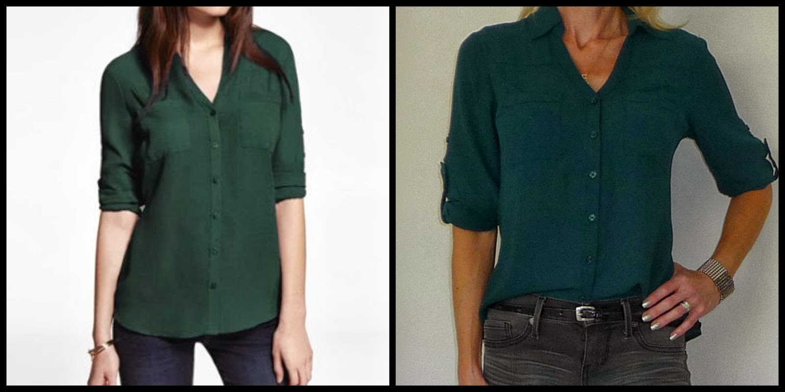 Express Portofino shirt, blouse, top, deep teal, green