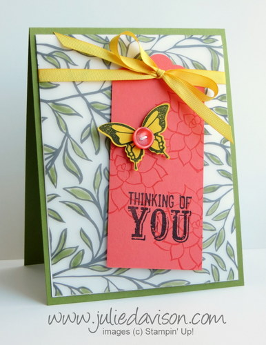 Stampin' Up! Sale-a-bration 2015 Nature's Perfection + Sheer Perfection Vellum card #stampinup #saleabration www.juliedavison.com