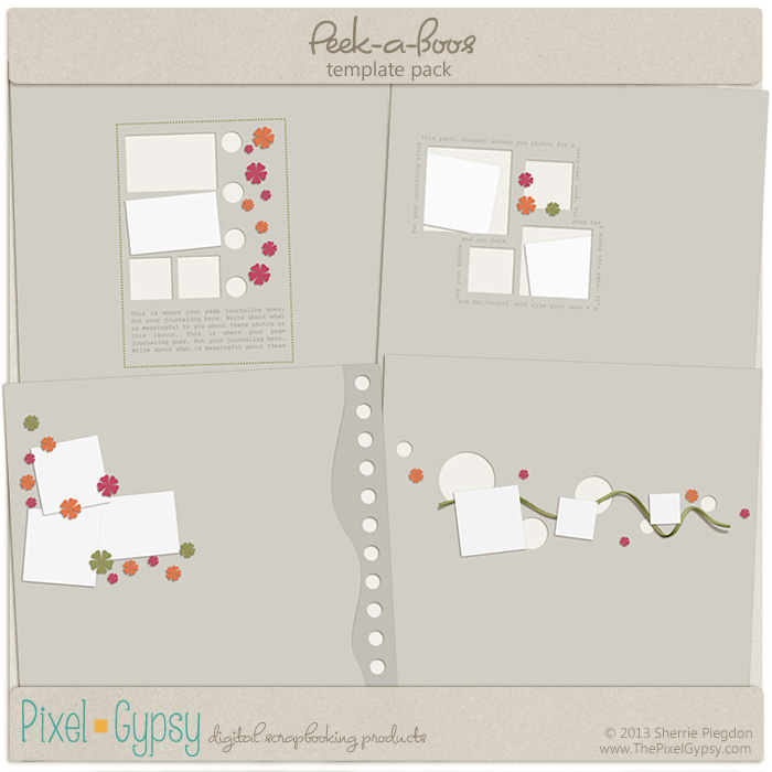 Peek-a-Boos Digital Scrapbooking Template Pack