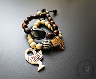 african wood beaded adinkra bracelets with africa map pendant