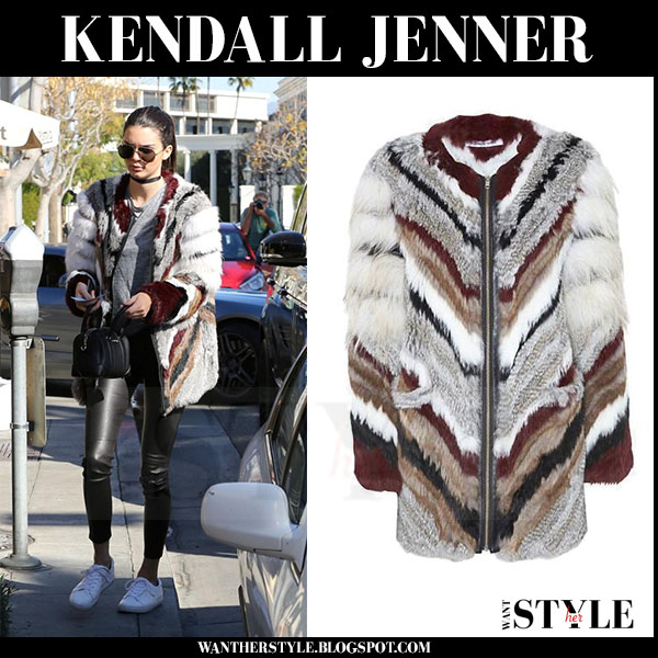 Kendall Jenner in multicolor elizabeth and james tarra fur coat and leather pants what she wore streetstyle