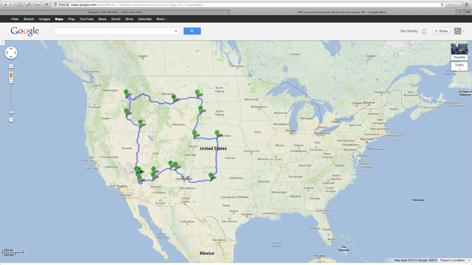 Dan Murphy Western Road Trip Map