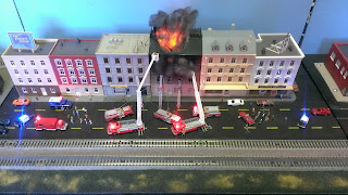building fire on a model railroad set
