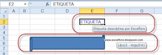Etiqueta descriptiva en un hipervínculo de Excel.