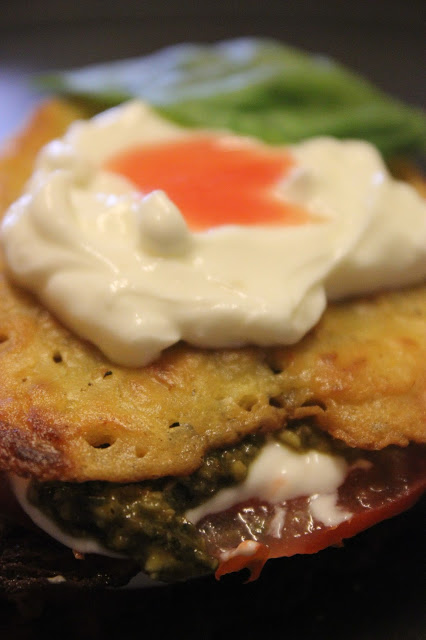 Socca Croustillant with Yogurt, Tomatoes & Walnut Basil Pesto (Click on photo to get post)