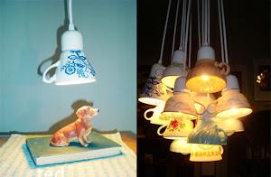 Luminárias de xícaras...que ideia fantástica.