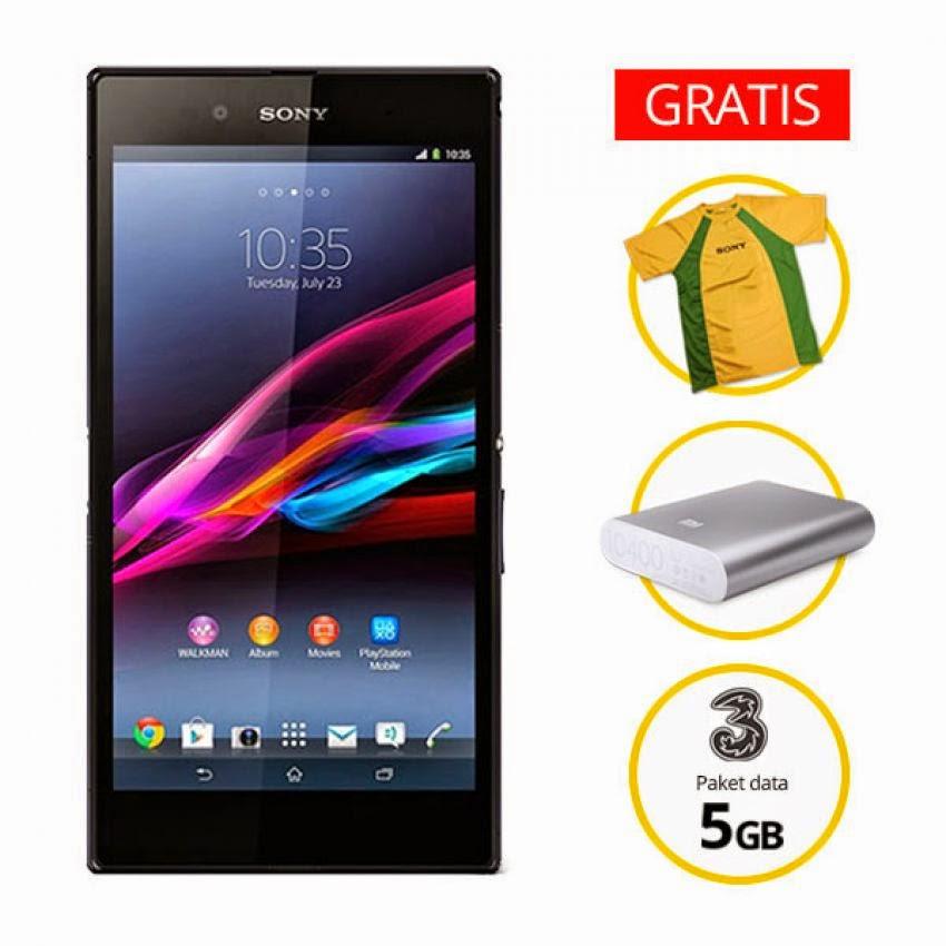 Harga Dan Spesifikasi Sony Xperia Z Ultra Terbaru, Bonus Mi Power Bank Plus Data 5 GB Serta TShirt Sony