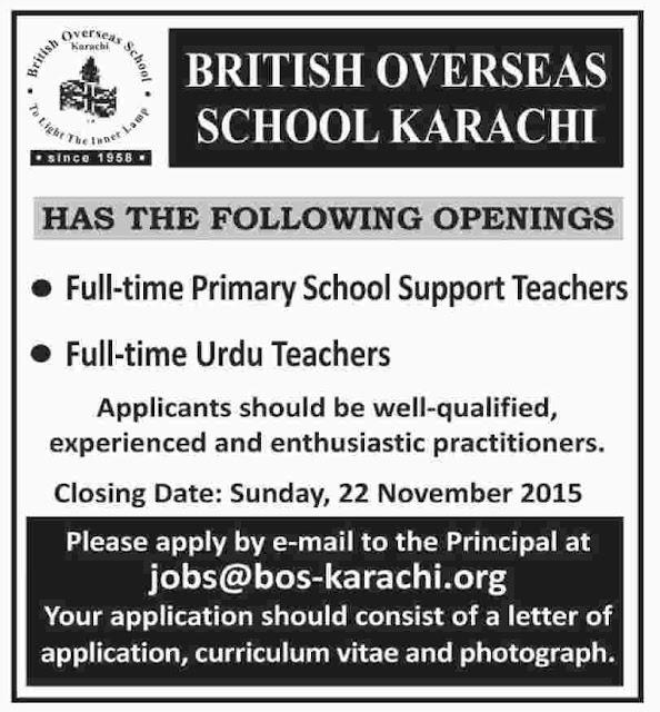 Teachers Jobs in British Overseas School Karachi