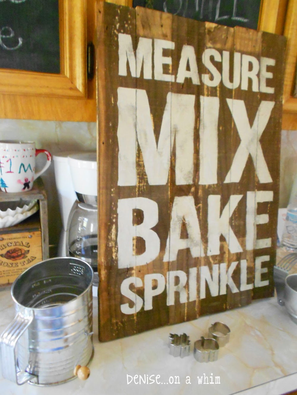 Kitchen Baking Sign made from a Packing Crate from Denise on a Whim