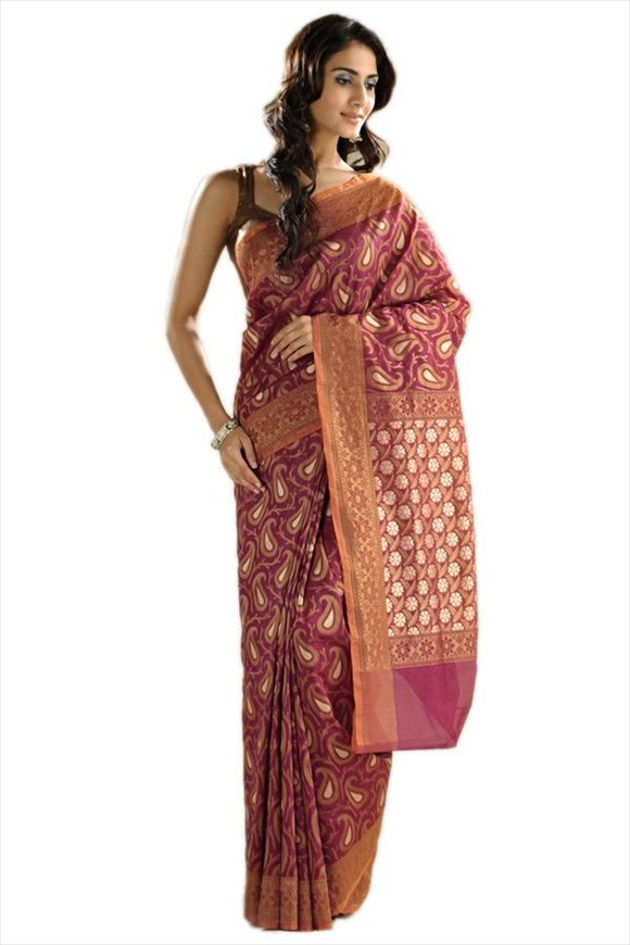 Bright Violet Georgette Banarasi Saree