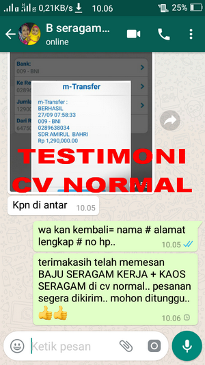 TESTIMONI PEMBELIAN SERAGAM KERJA/INSTANSI CV NORMAL