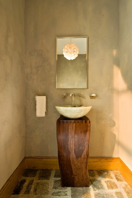 30 ideias para decorar o lavabo integrado cores da casa - Clever small bathroom designs ...