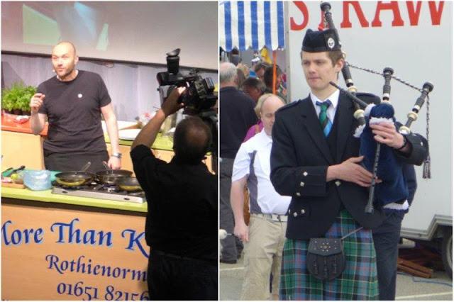 Festival Taste of Grampian, Sabor de Grampian – Demostracion de cocina de Simon Rimmer, gaitero escoces