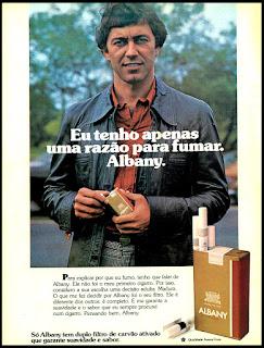 propaganda cigarros Albany - 1977; propaganda anos 70; história decada de 70; reclame anos 70; propaganda cigarros anos 70; Brazil in the 70s; Oswaldo Hernandez;