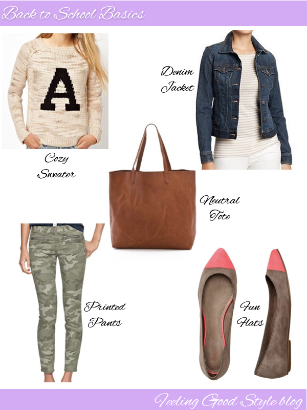back to school basics, sweater, denim jacket, flats, tote, gap jeans, camo jeans