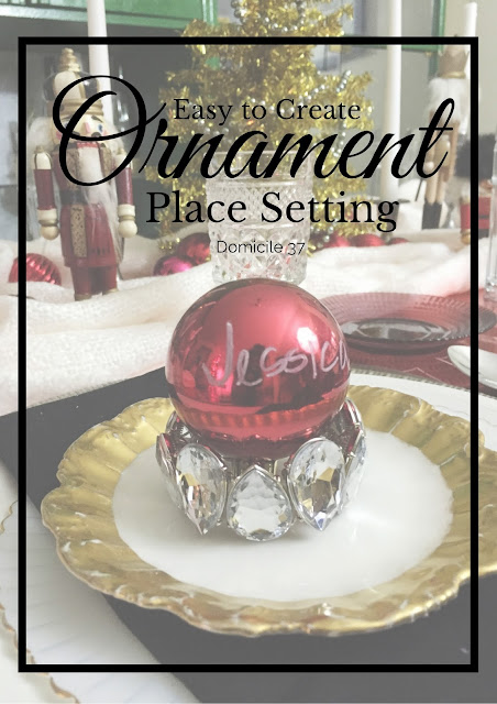 Step by step guide to create a glam place setting using costume jewelry, an ornament, and a marker