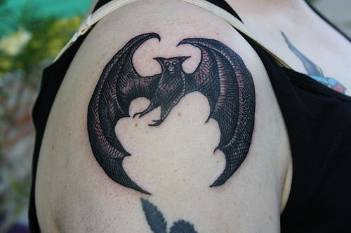 Animal tattoo ideas bat tattoos for Bat moon tattoo