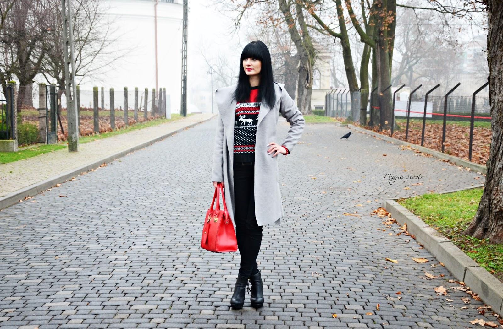 świąteczna stylizacja, mikołajkowy sweter, świąteczny sweter