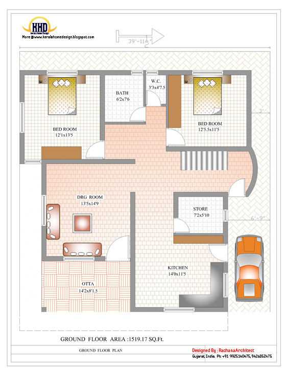 Duplex House Ground Floor Plan - 2878 Sq. Ft. (267 Sq M) - March 2012